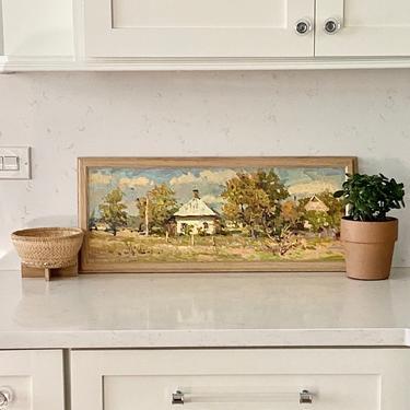 Landscape Oil Painting Vintage Long Rectangular by ModRendition