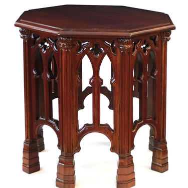 English Neo-Gothic Style Carved Solid Mahogany Octagonal Side/Drinks Table