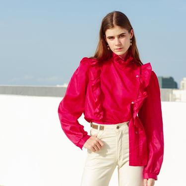 70s Dark Pink Ruffles Blouse Vintage High Collar Long Sleeve Top by AppleBranchesVintage