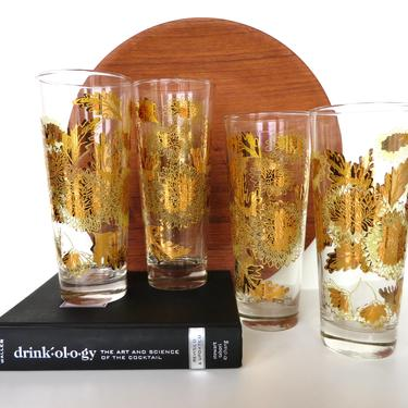 Set of 4 Vintage Bartlett Collins 22kt Gold Highball Cocktail Glasses With Floral Decor, Mid Century Modern Tall Ice Tea Glasses by HerVintageCrush