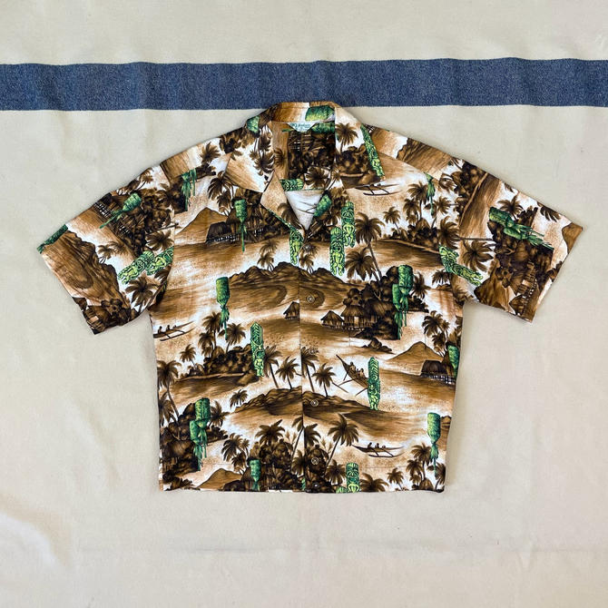 Size M Vintage Early 1960s Hookano Aloha Tiki Green, Brown, White Cotton Shirt by BriarVintage