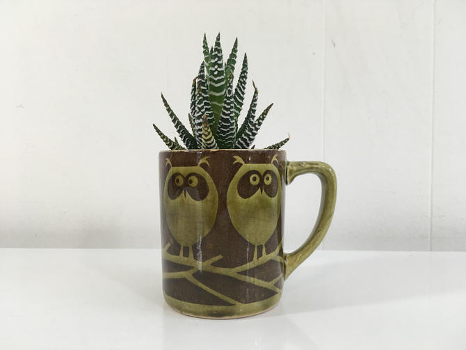 Vintage Rare Mod 1970s Hornsea John Clappison Owl Ceramic Animal Coffee Mug Brown Green England Owls Mid Century Modern 70s Retro by CheckEngineVintage