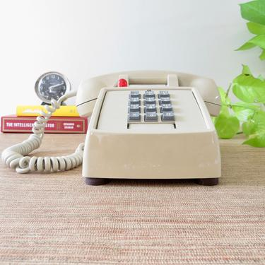 Vintage Telephone - ITT 2500 Touchtone Telephone - Red Ringer Light - Beige/Taupe - Mad Men Retro Push Button Telephone - Hearing Impaired by SoulfulVintage
