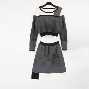 2pc Black\/White Knit Dress Set