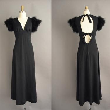 vintage 1970s   Gorgeous Black Marabou Feather Cut Out Back Full Length Cocktail Party Dress   Medium   70s dress by simplicityisbliss