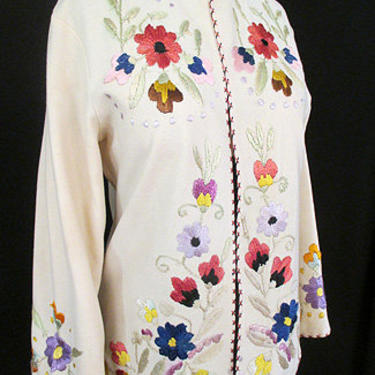 Exquisite 1950's Cream wool felt Jacket with Hand Embroidery in Silk of Flowers Vintage Chic Size Medium by wearitagain