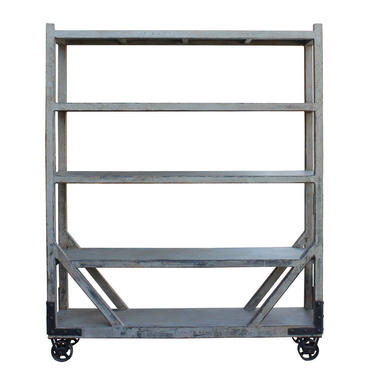 Distressed Gray Display Curio Cabinet Room Divider on Wheels cs2776E by GoldenLotusAntiques