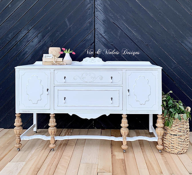 Farmhouse Jacobean Sideboard / Buffet / Media Console / TV Console / Cabinet / Hutch / Dining Room by VivAndVioletsDesigns