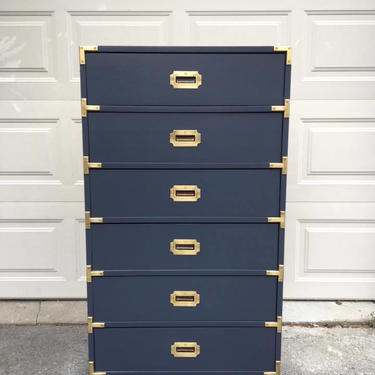 Navy Campaign Dresser // Mid Century Campaign Dresser// by FolkloveStudio