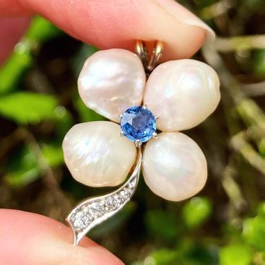 Fine Antique Victorian 14K Pearl Sapphire & Diamond 4 Leaf Clover Flower Pendant by templeofvintage