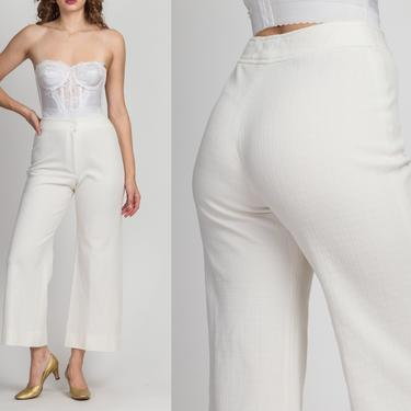 """70s White High Waist Flared Pants - Extra Small, 25""""   Vintage Textured Bootcut Retro Boho Trousers by FlyingAppleVintage"""