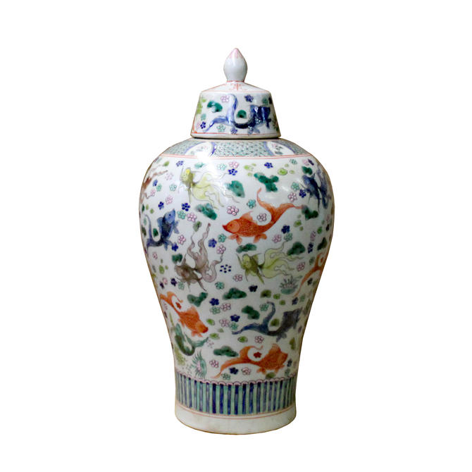 Chinese White Base Color Gold Fishes Graphic Porcelain Jar ws1105E by GoldenLotusAntiques