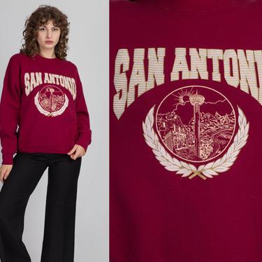 Vintage San Antonio Sweatshirt - Large   90s Maroon University Of Texas Graphic Pullover by FlyingAppleVintage