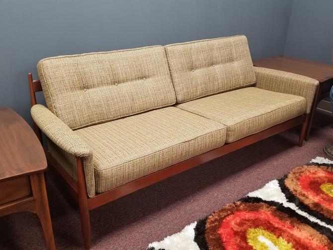Mid-Century Modern wood frame sofa