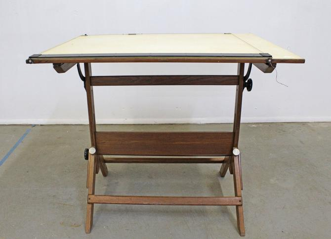 Vintage Drafting Table Industrial Adjustable Wood Drafting Table Desk by AnnexMarketplace