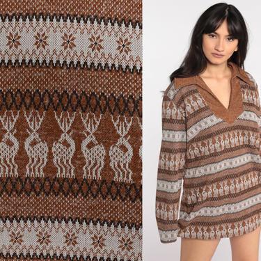 70s Novelty Print Shirt Deer Blouse Micro Mini Dress Brown Tunic Top Boho Hippie Shirt 1970s Long Sleeve Vintage Bohemian Medium Large by ShopExile