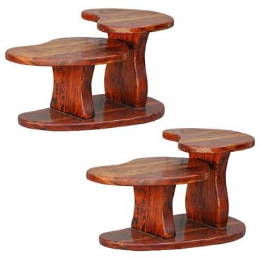 Pair of two tier kidney shaped knotted Oregon pine side tables