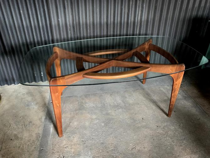 Adrian Pearsall for Craft Associates Dining Table with Glass by HermansSteelGarage