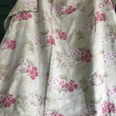 French Pink Floral Fabric, Cotton Cretonne Textile, Flowers Print Period Textile Sewing Projects Antique by JansVintageStuff