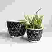 """4.75"""" Pot/Planter-Black White Triangles"""