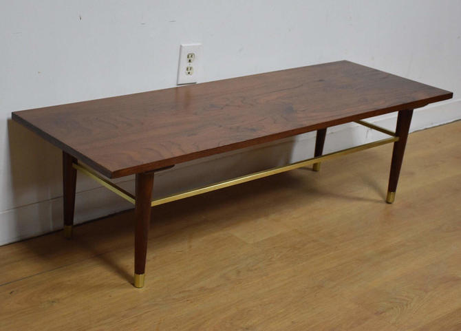 Walnut and Brass Coffee Table by mixedmodern1