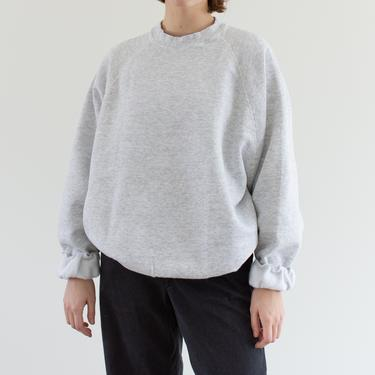 Vintage 90s Light Heather Grey Raglan Sweatshirt | Heavyweight Blank Gray Cozy Fleece Sweat | Made in USA | L XL | by RAWSONSTUDIO