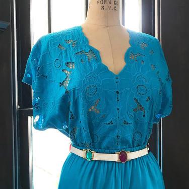 """Vintage 80s """"Cutwork"""" Blouse & Skirt Set by LucileVintage"""