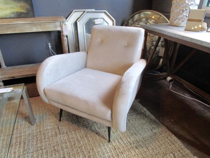 PAIR OF MID CENT. MODERN CHAIRS WITH BLACK AND BRASS FEET