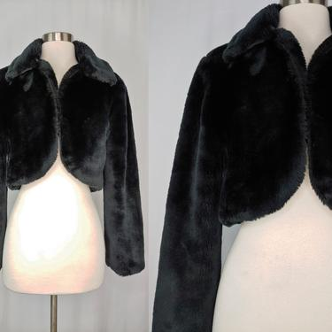 Vintage Y2K 2000 Guess Jeans Black Faux Fur Cropped Jacket - Medium Millennium Style Cropped Faux Fur Jacket by JanetandJaneVintage