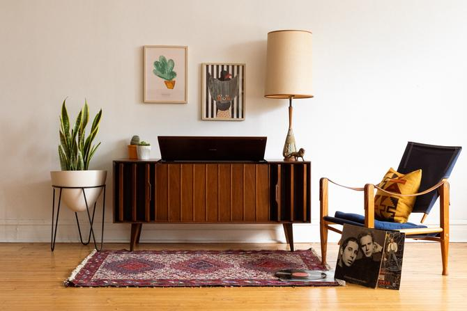 Mid Century Modern Walnut Zenith Record Console by SpacedOutFurniture