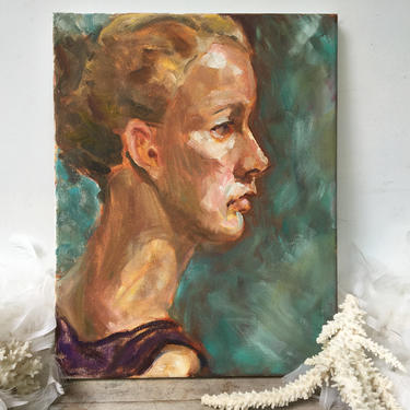 """Vintage Oil Portrait Of Woman Profile, Hair Pulled Up In Bun, 11""""x14"""", Aqua Teal Background, Purple Dress, Original Art On Canvas, Unsigned by luckduck"""