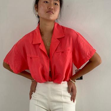 90s silk pocket shirt / vintage coral salmon silk oversized tissue thin short sleeve sandwashed silk shirt blouse   L XL by RecapVintageStudio