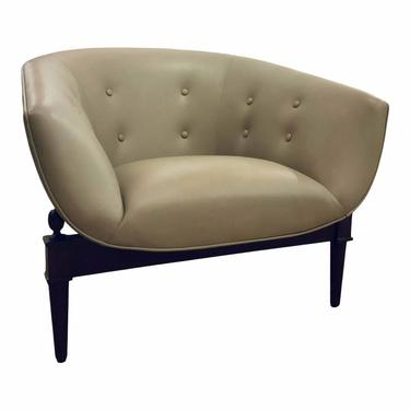 Global Views Greige Tufted Leather Mimi Club Chair