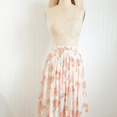 50s peach floral pleated skirt | peach cream and brown by foganddriftwood
