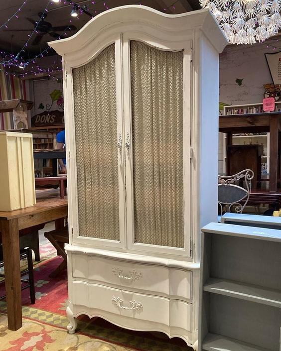 """Faux French armoire. 38"""" wide 19"""" deep 76.5"""" tall."""