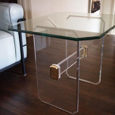"""1980s LUCITE Base SIDE End Coffee TABLE 26x22"""" Glass Top 21"""" high, Memphis Mid-Century Modern Postmodern Bauhaus eames knoll pace collection by refugegallery"""
