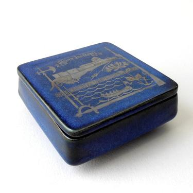 Sven Jonson Blue LAGUN 22 BOWL w LID  Gustavsberg 5in Sq Covered Box Porcelain Detailed Silver Inlay Bohus Fortress 60s Mid Cent Sweden ExC by FultonLane