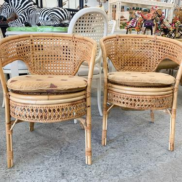 Pair of Rattan and Cane Barrel Chairs