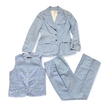 Vintage 1970s Women's BRECKENRIDGE Cotton 3pc Summer Suit ~ S ~ jacket / blazer / sport coat / vest / pants ~ 70s Lightweight Set ~ by SparrowsAndWolves