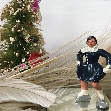 Vintage Barclay Figure Skater, Ice Skating Woman, Miniature Winter Snow Scene, Dark Navy/Black by luckduck
