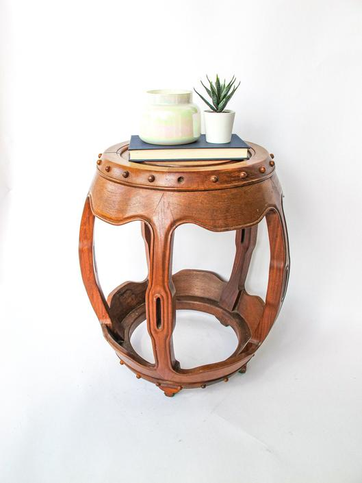 Stunning Asian Hand Carved Solid Side Table / Stool by PortlandRevibe