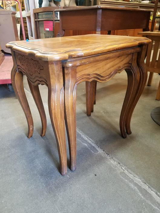 Vintage Oak French Style Nesting Tables