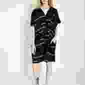Oversized V Dress Broken Stripe Black