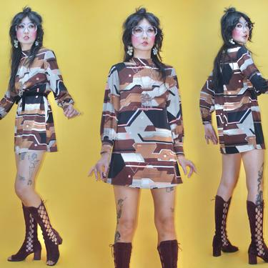 Vintage 1960s Groovy Geometric print MOD Mini Dress /SZ S/ 60s MOD Pucci Paganne Gene Bark style Mr. Dino vibe Abstract Psychedelic GoGo by TheeAppleBoutique