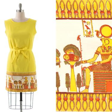 Vintage 1960s Shift Dress | 60s Egyptian Novelty Border Print Canary Yellow Cotton Sundress (medium/large) by BirthdayLifeVintage