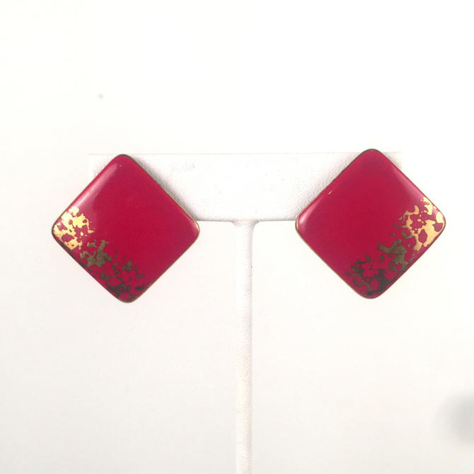 Vintage 1980s Red and Gold Square Earrings by timelesspieces