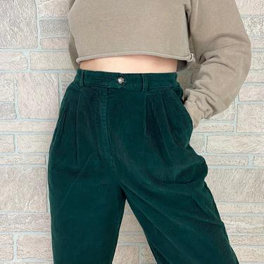 Forest Green Corduroy High Waisted Trousers / Size 28 29 by NoteworthyGarments