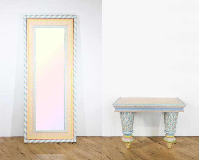 MacKenzie Childs Mirror and Console Table Full Length by 330Modern