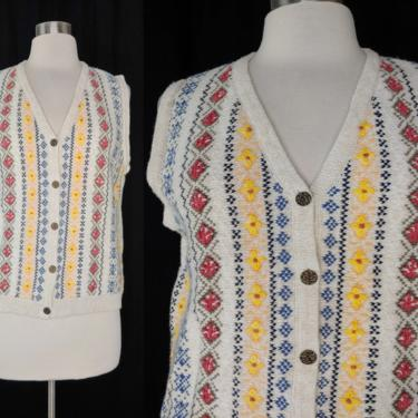 Vintage 90s Northern Reflections Medium Embroidered Sweater Vest - Nineties Women's Button Up Sleeveless Sweater Vest by JanetandJaneVintage
