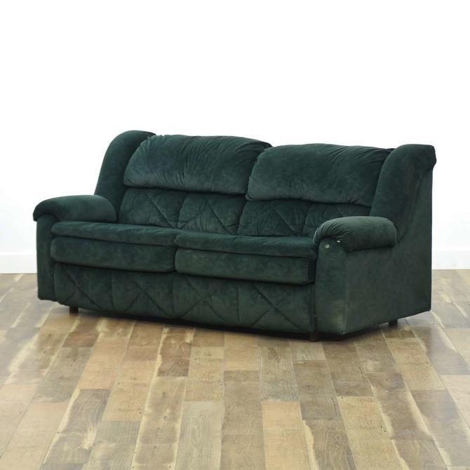 Contemporary Overstuffed Hunter Green Sleeper Sofa